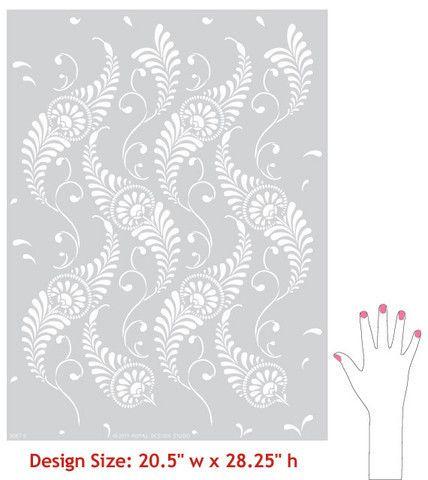 Wall Stencil | Feathered Damask Stencil | Royal Design Studio
