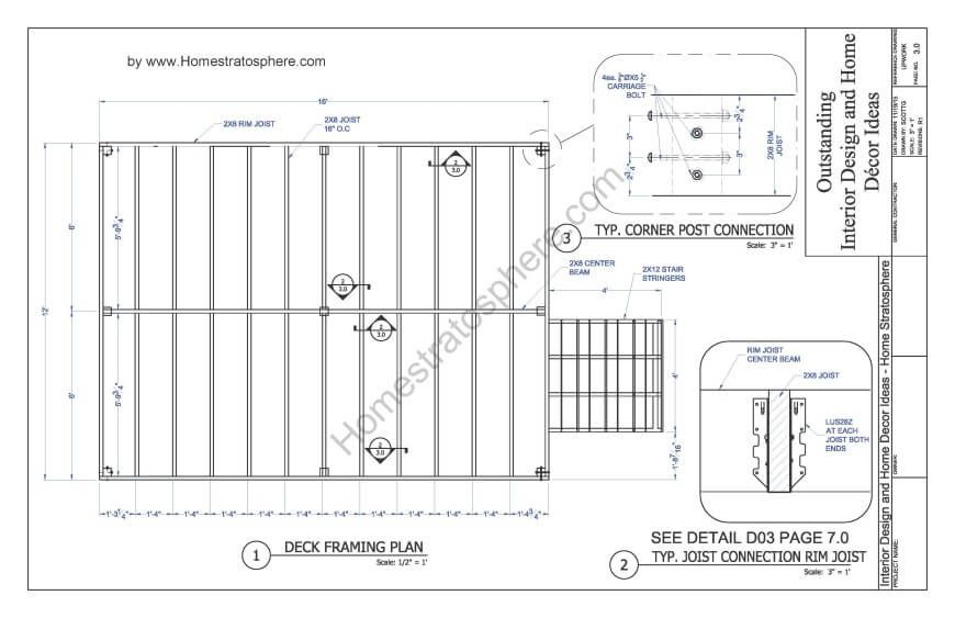 Free 12 X 16 Deck Plan Blueprint With Pdf Document Download Deck Layout Building A Deck Floating Deck Plans