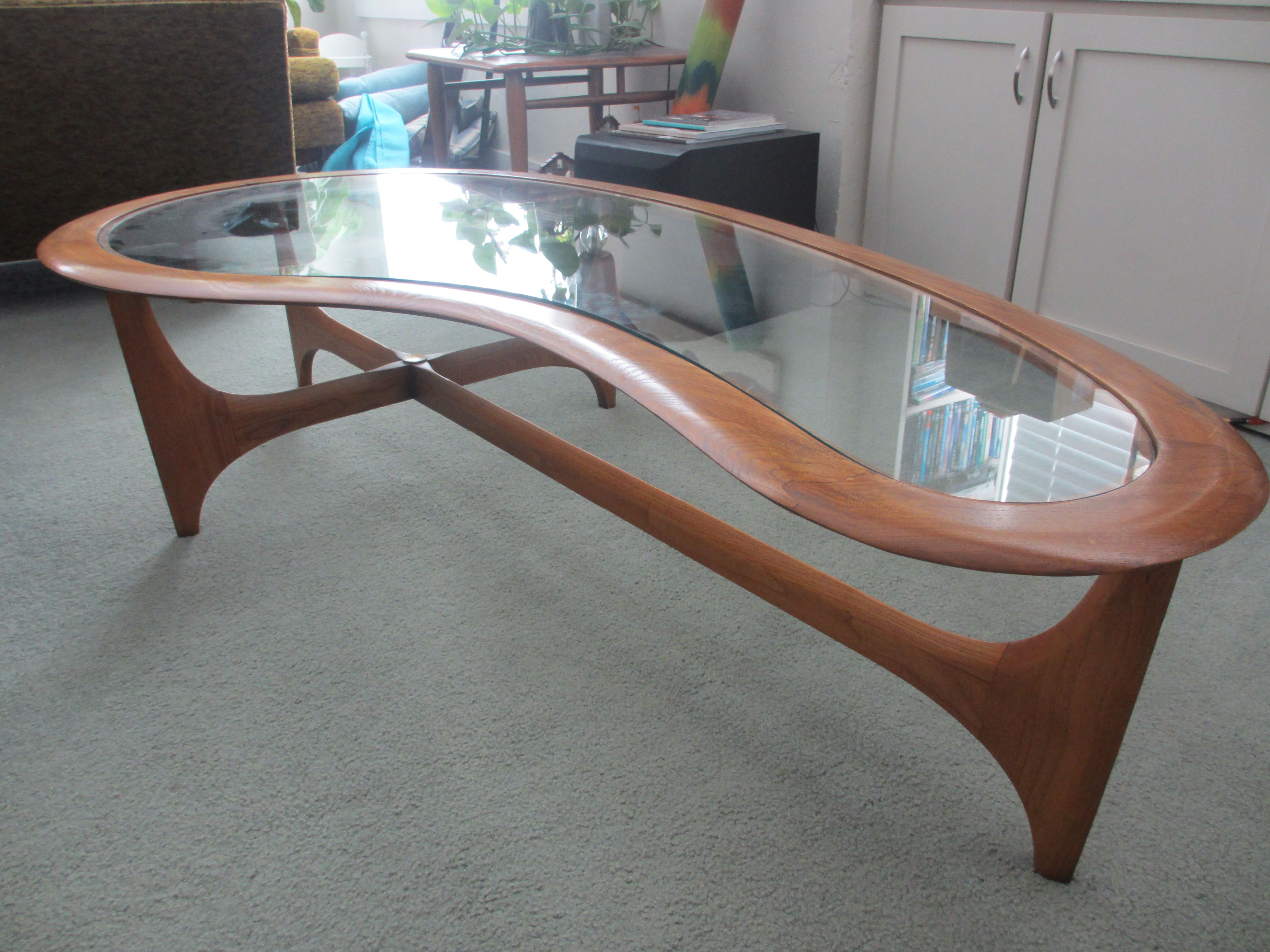 Lane Kidney Shaped Glass Coffee Table Table Mid Century