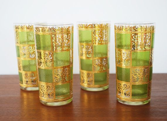 Vintage Culver Prado Highball Glasses / High End Vintage Barware / 22k Gold  And Green Glasses / Signed / Mid Century Barware / Set Of 4