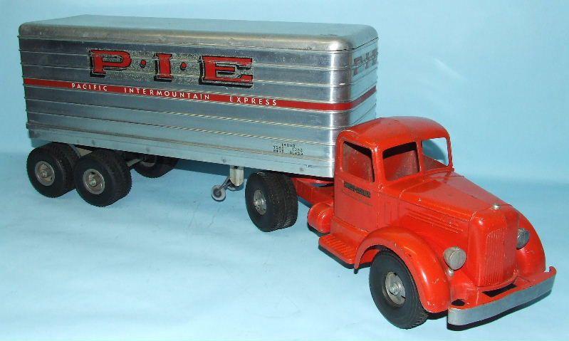 Smith Miller Smitty L Mack Pie Truck Trailer Toy Pressed Steel