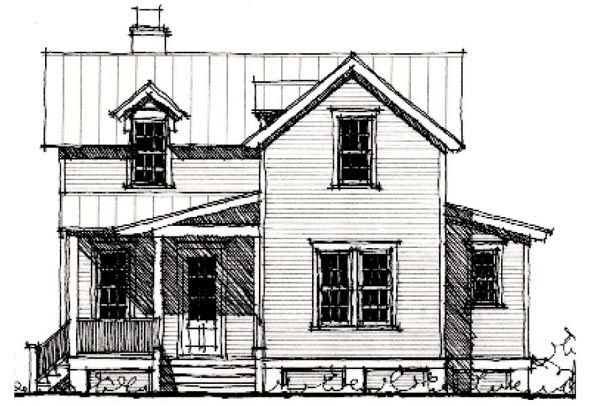 Historic Home Elevation : Elevation of country historic house plan