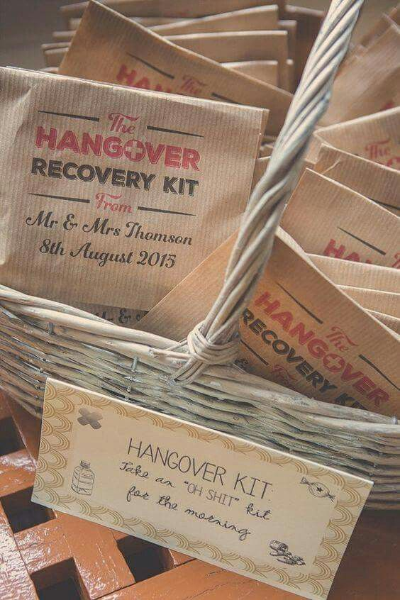 Hangover recovery kit for your wedding guests