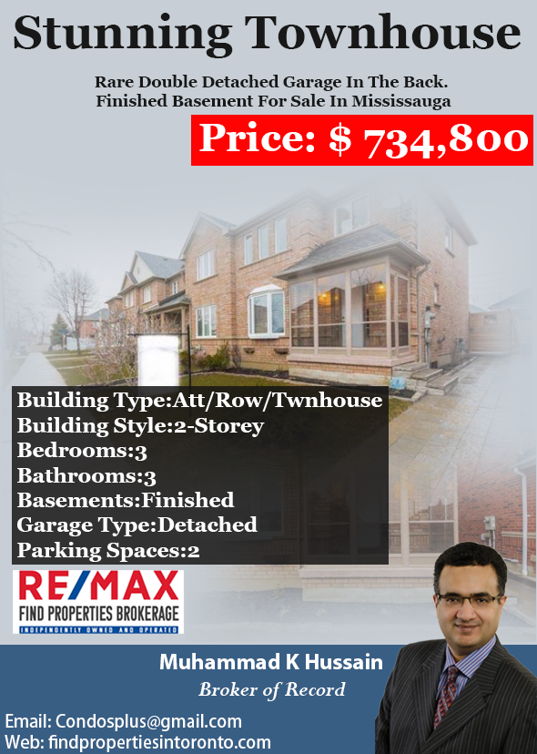 stunning townhouse rare double detached garage in the back stunning townhouse rare double detached garage in the back finished basement reheart Image collections