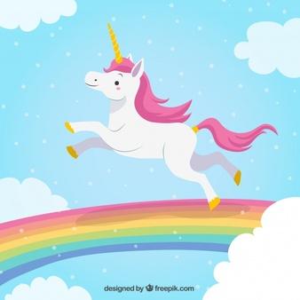 Photo of Scarica Unicorn Background Jumping In The Rainbow gratuitamente