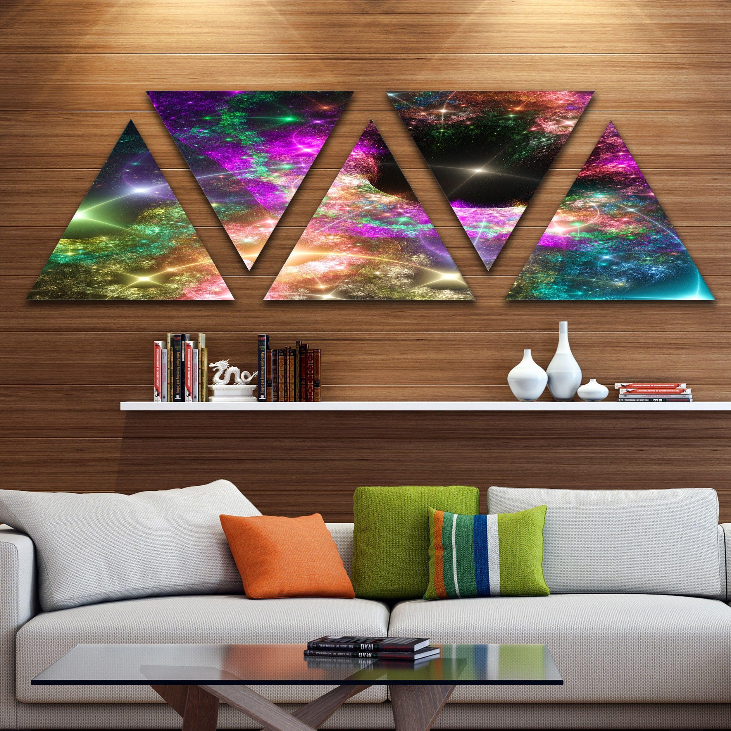 Designart 'Pink Cosmic Hole' Contemporary Art on Triangle Canvas - 5 Panels