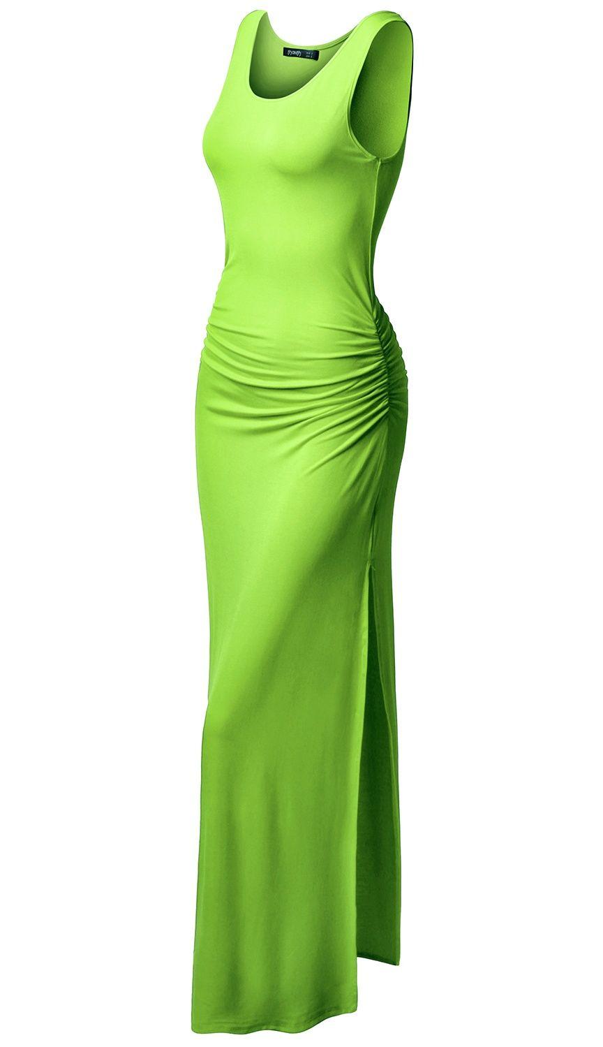 Doublju Doublju Women S High Split Bodycon Side Shirring Waist Sleeveless Maxi Dress Lime L Walmart Com Maxi Dress Party Womens Maxi Dresses Plus Size Maxi Dresses [ 1499 x 864 Pixel ]