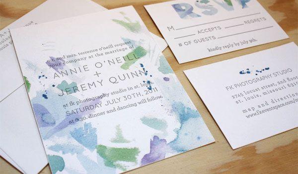 Watercolor Wedding Invitations by Printerette Press DESIGN