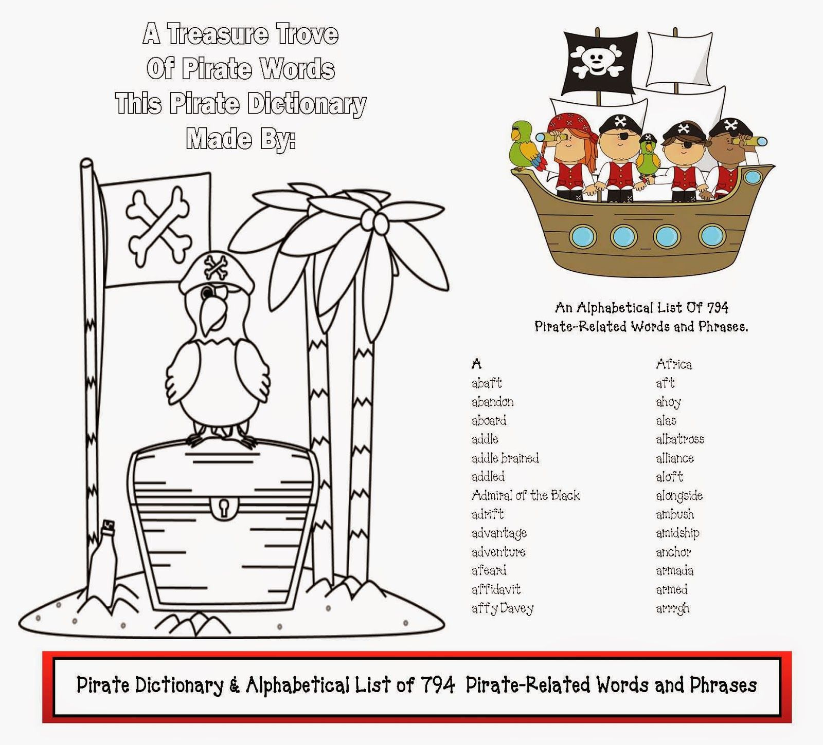 Dictionary Of Pirate Words Phrases Classroom Freebies Pirate Words Pirate Phrases Classroom Freebies [ 1450 x 1600 Pixel ]