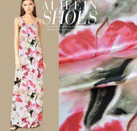 stretchy silk crepe satin half yard by 53 wide vivid peony on pink background silk charmeuse fabric digital print silk fabric