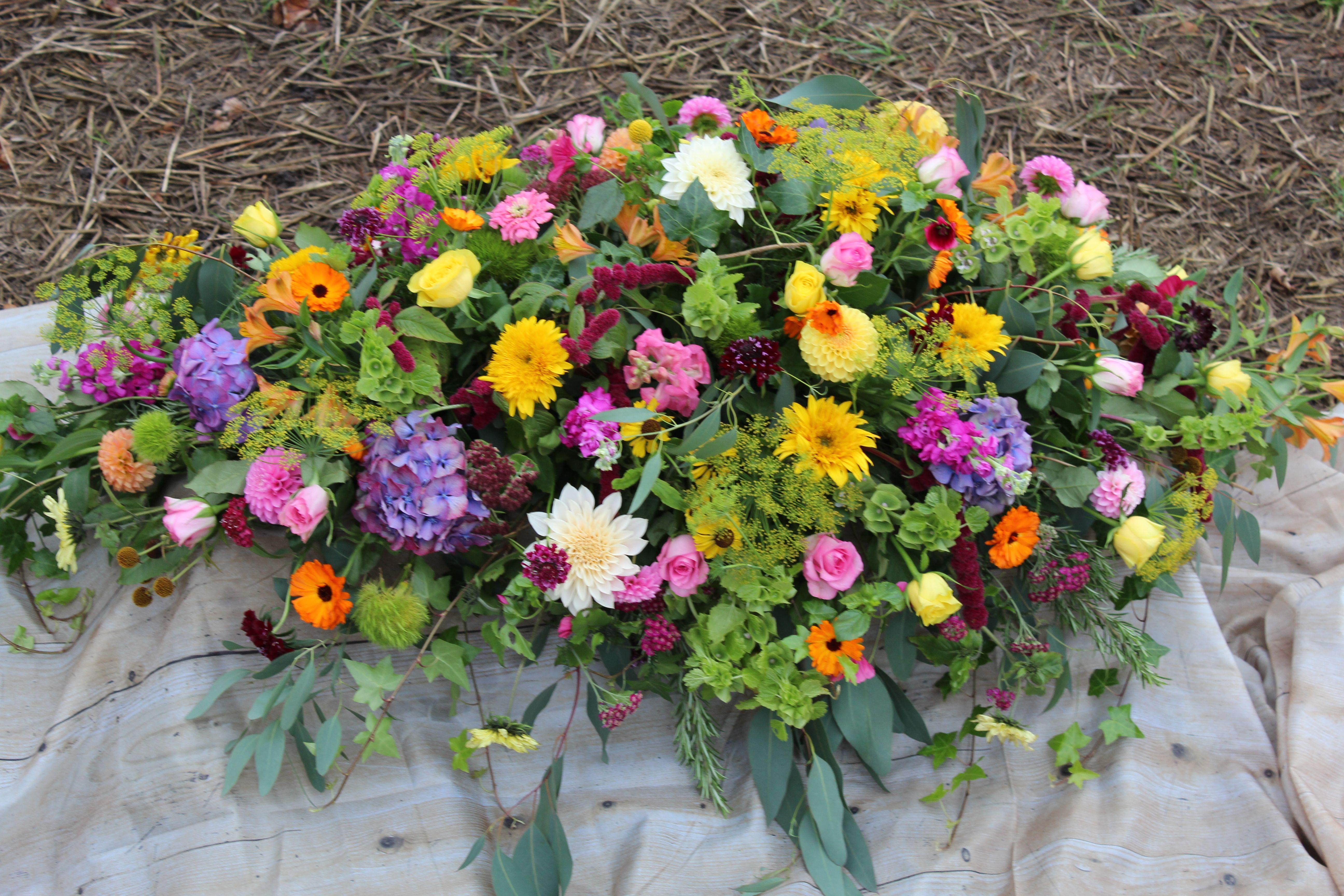 British Summer Flowers Casket Spray Sympathy Funeral Flowers