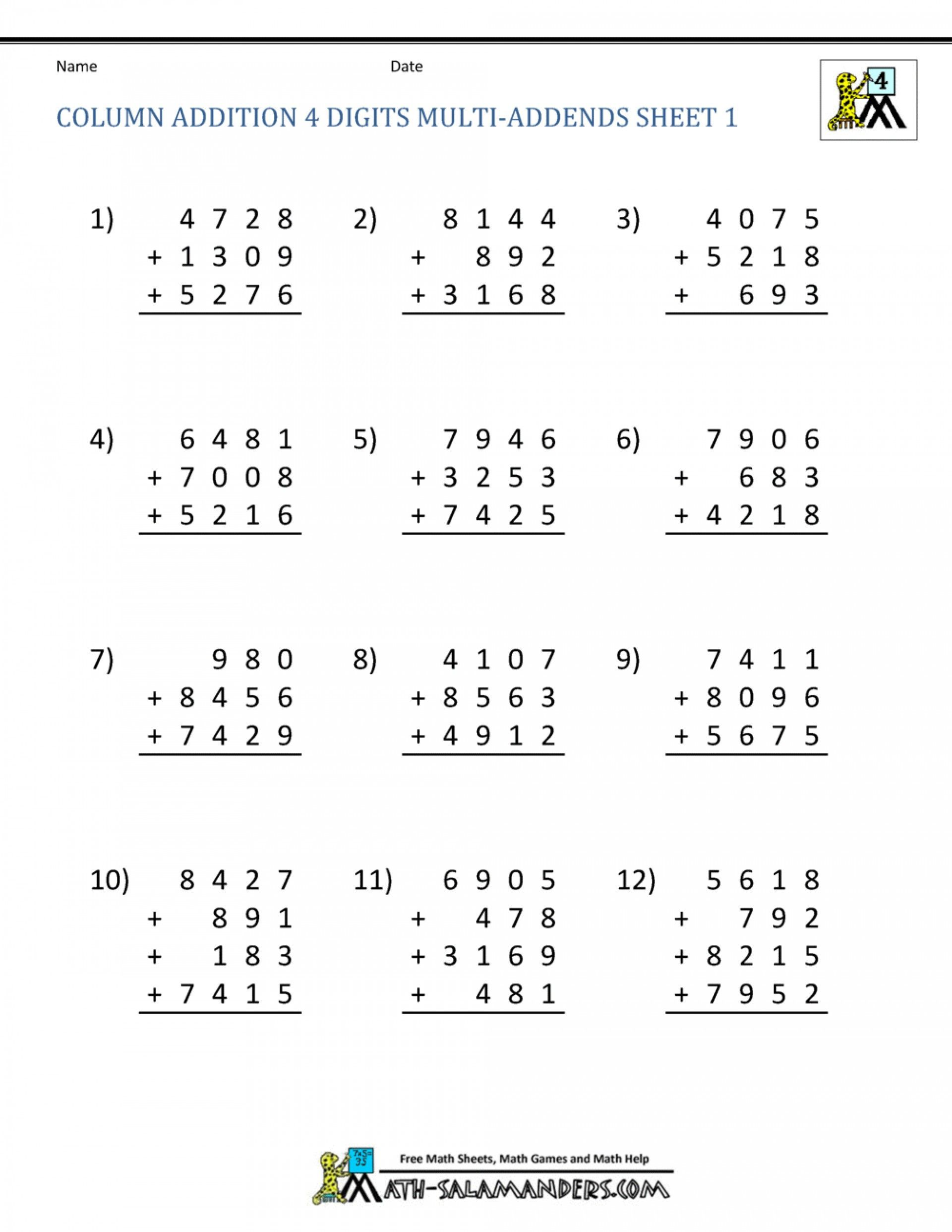4 Free Math Worksheets Second Grade 2 Addition Add 4 2
