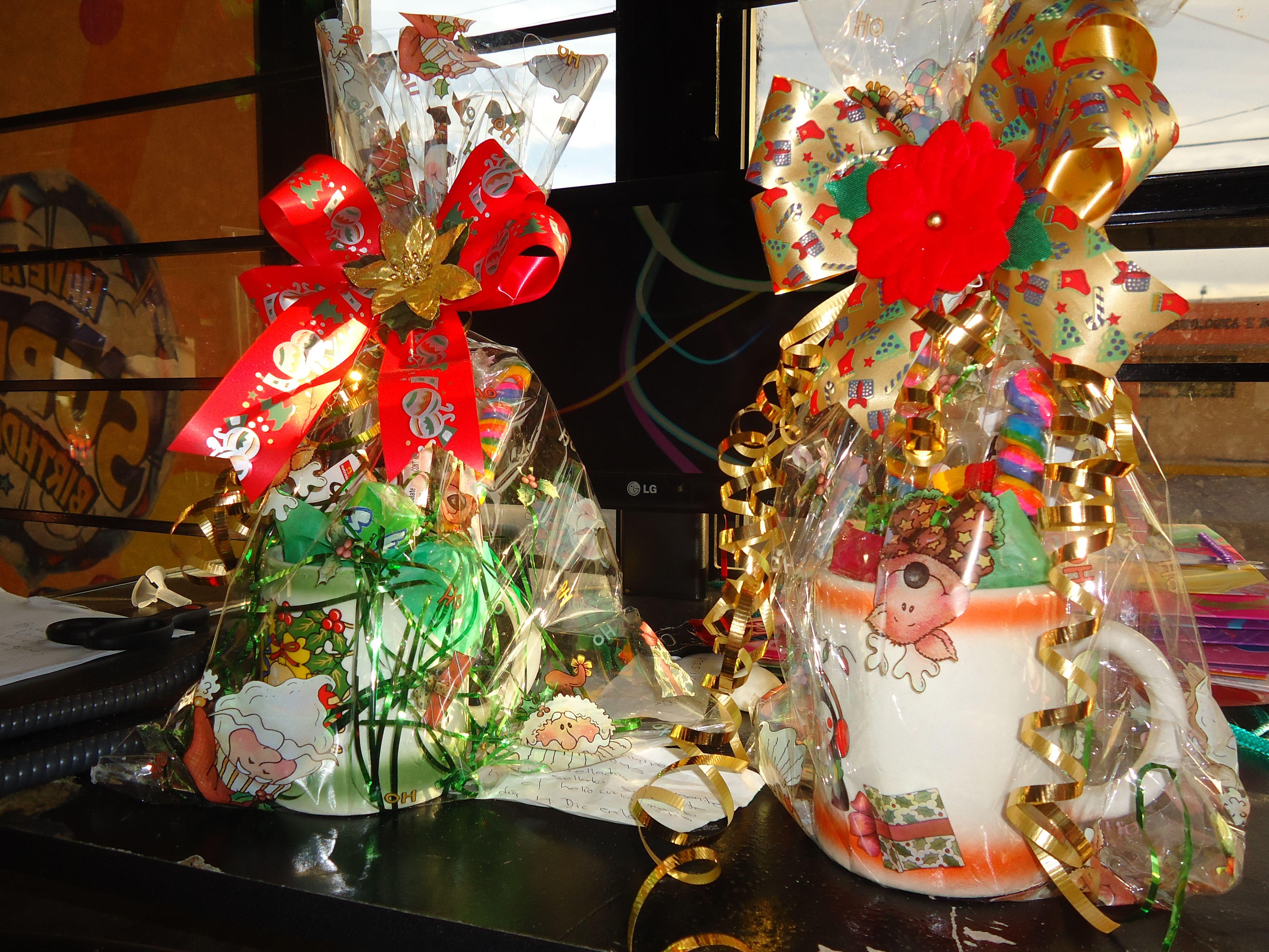 Tazas adornadas con chocolates caramelos y tamarindos - Regalo navidad mama ...