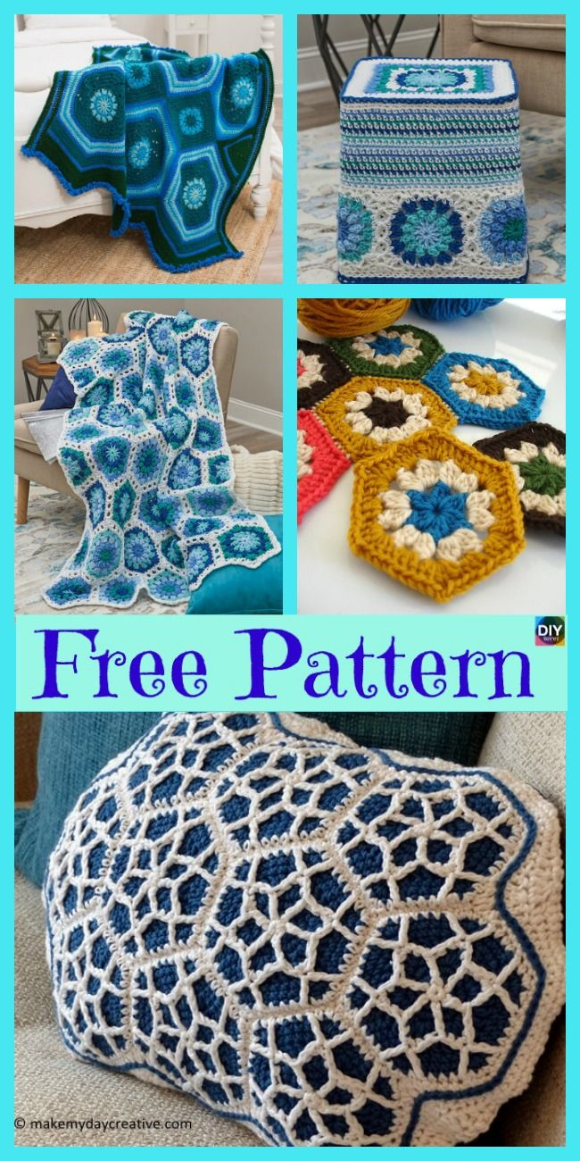 10 Beautiful Crochet Hexagon Free Patterns | Häkelmuster, Strick und ...