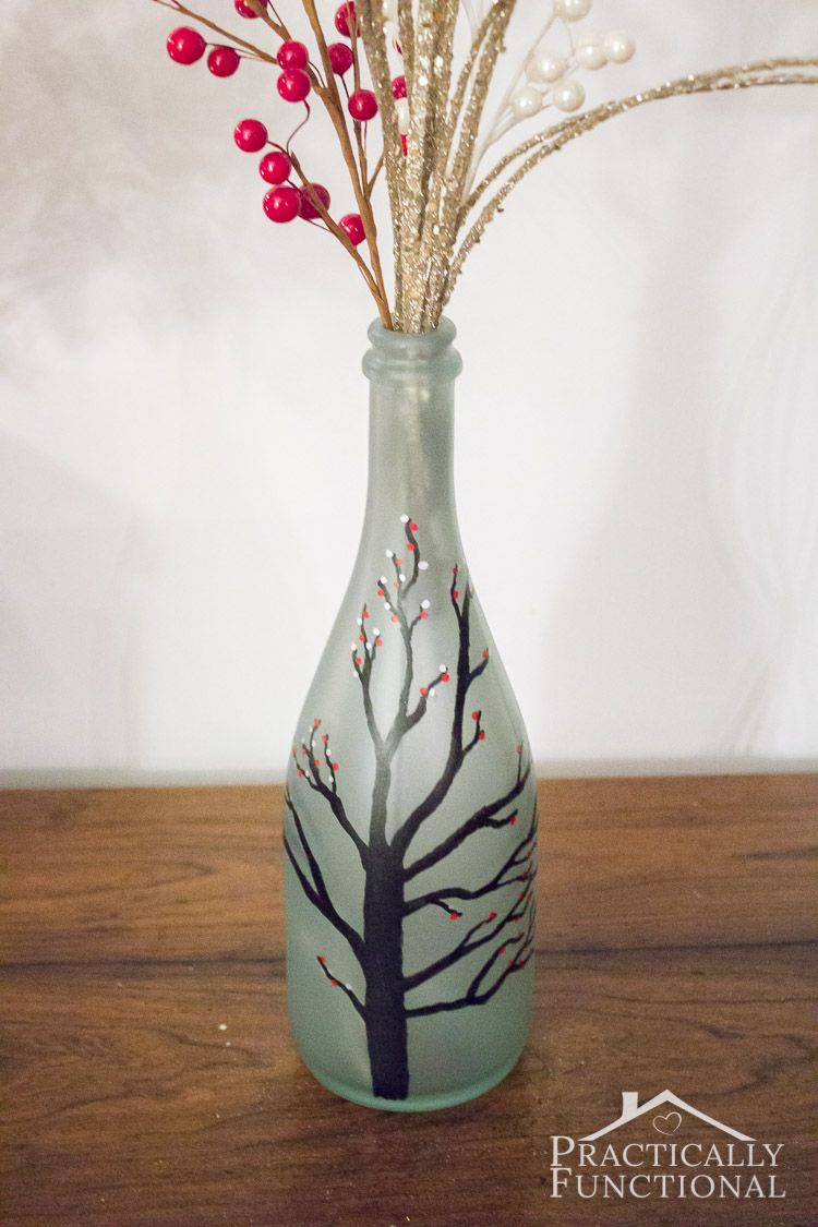 Diy Wintry Frosted Glass Vase Frosted Glass Glass Vase Vase