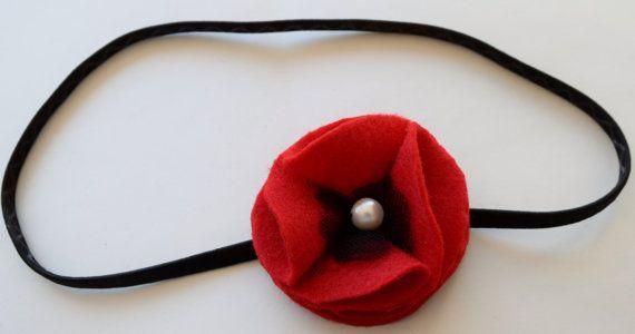 Elastic Headband with Red Felt Poppy by MichaelPoppyProject