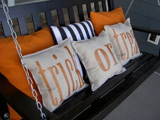 Trick or treat pillows for the front porch