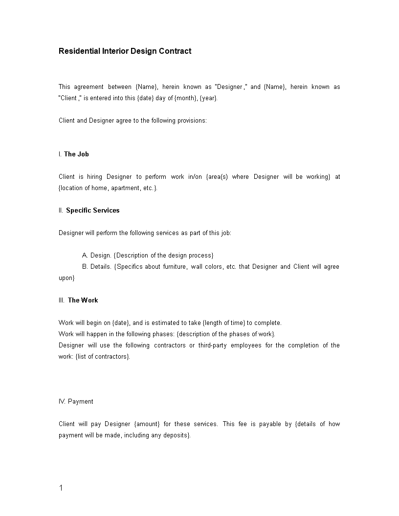 Residential Interior Designer Contract Template Download This