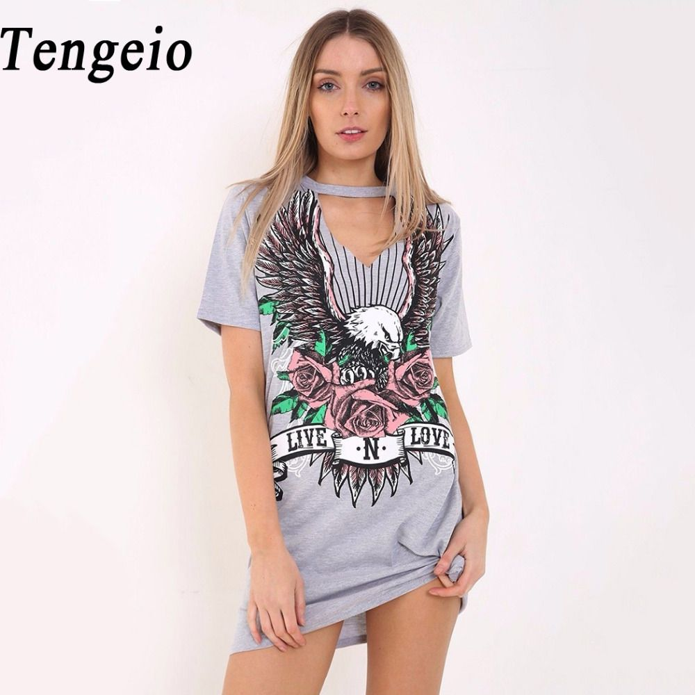 Click to buy ucuc tengeio letter floral print punk dress women casual