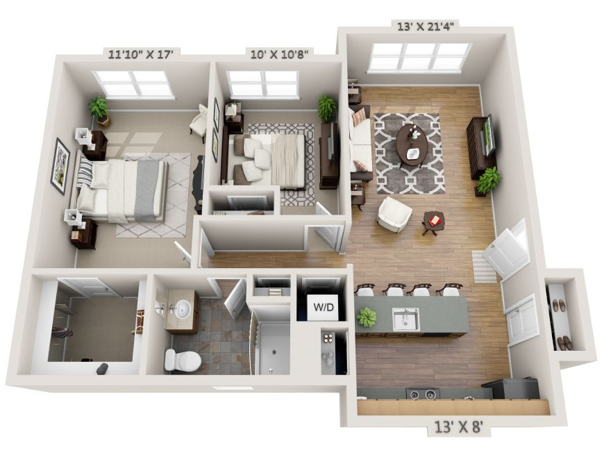TwoBedroom + Study 3D Floor Plan Net Zero Village