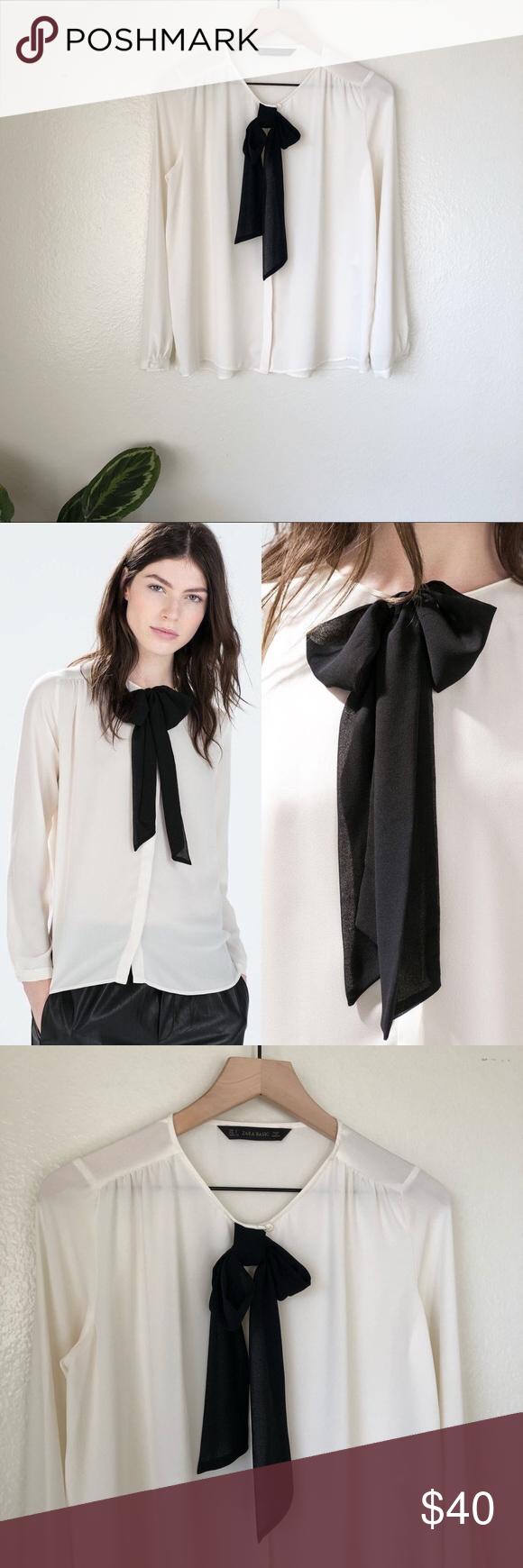 36027b5a2c9 Zara | Bow Blouse Zara Bow Blouse -cream with black tie bow -button ...