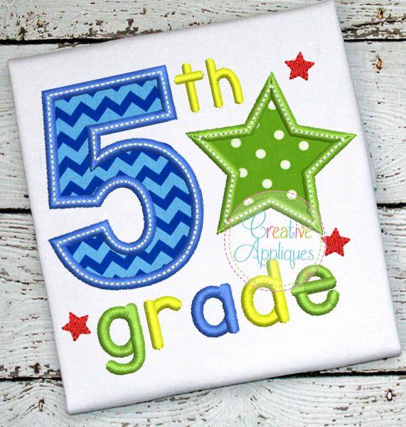 5th Grade Star Applique $ REPIN THIS then click here: https://creativeappliques.com/