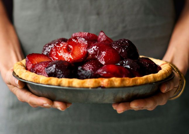 Use plums that hold their shape when cooked, such as black or red (avoid soft-fleshed Santa Rosas). If you prefer a taller pie, use all 5 pounds of fruit.