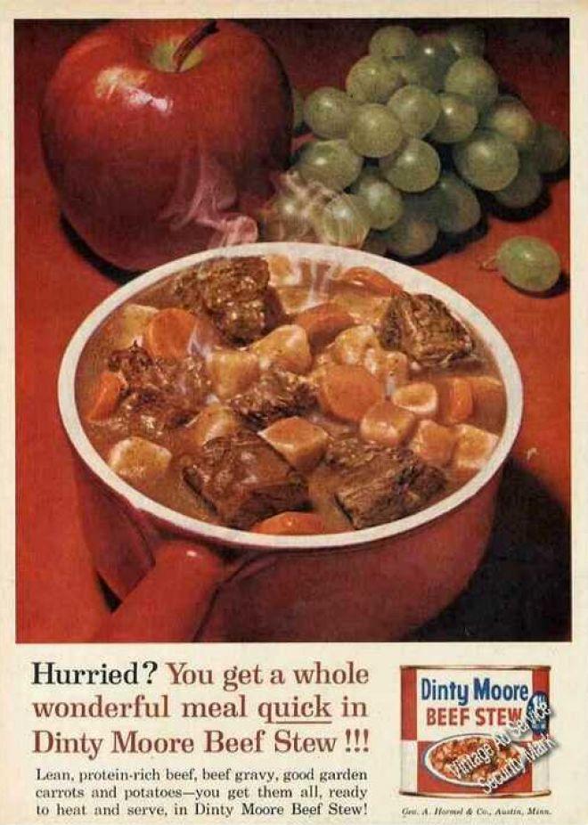 1968 Hormel Print Ad For Dinty Moore Beef Stew Boeuf Vintage Pinterest Dinty Moore Beef Stew