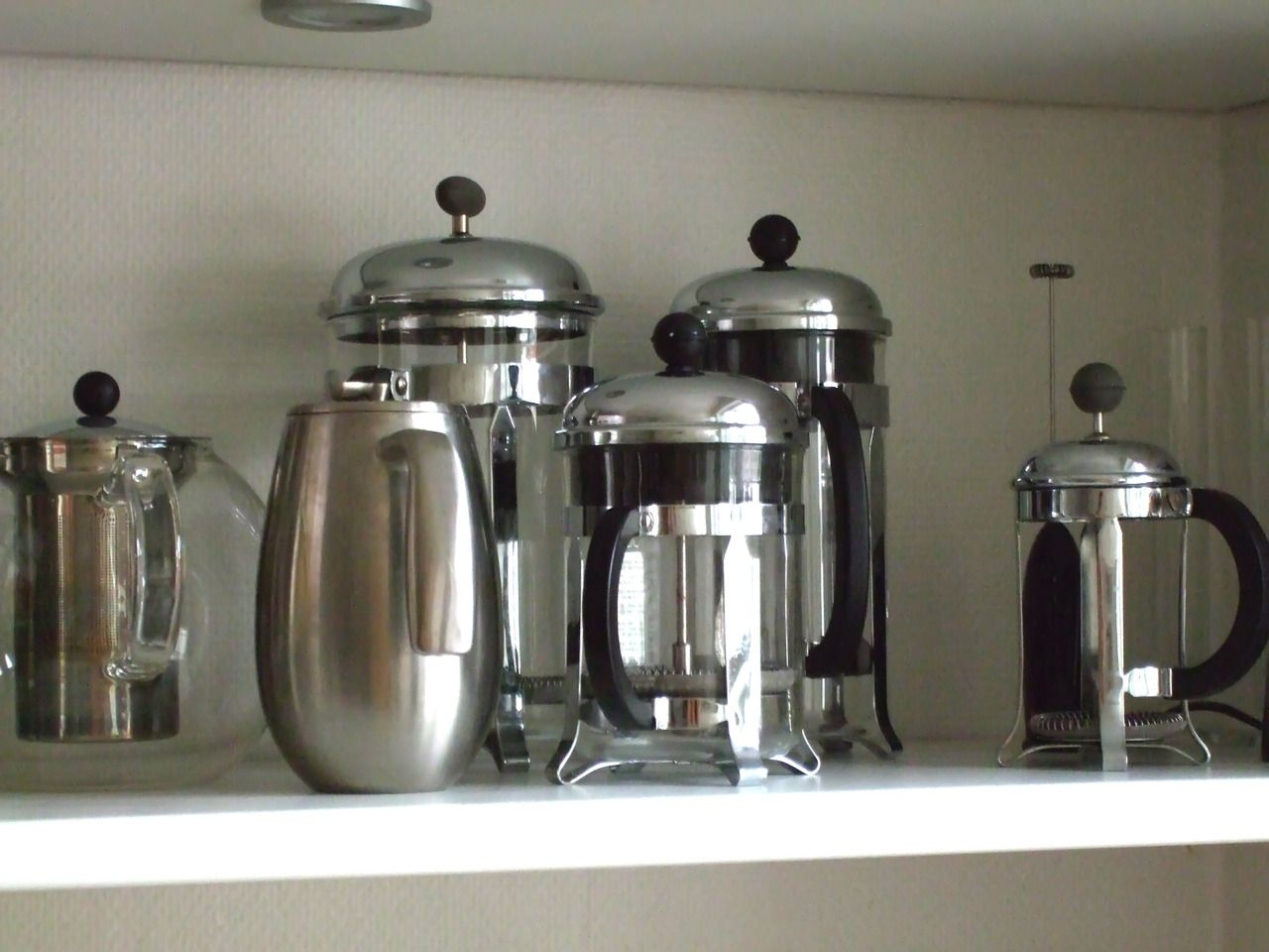 In Scandinavia, you may find a shelf in a kitchen with several sizes of Bodum (French Press) coffee makers. Best coffee I've ever had… (image by Susan)