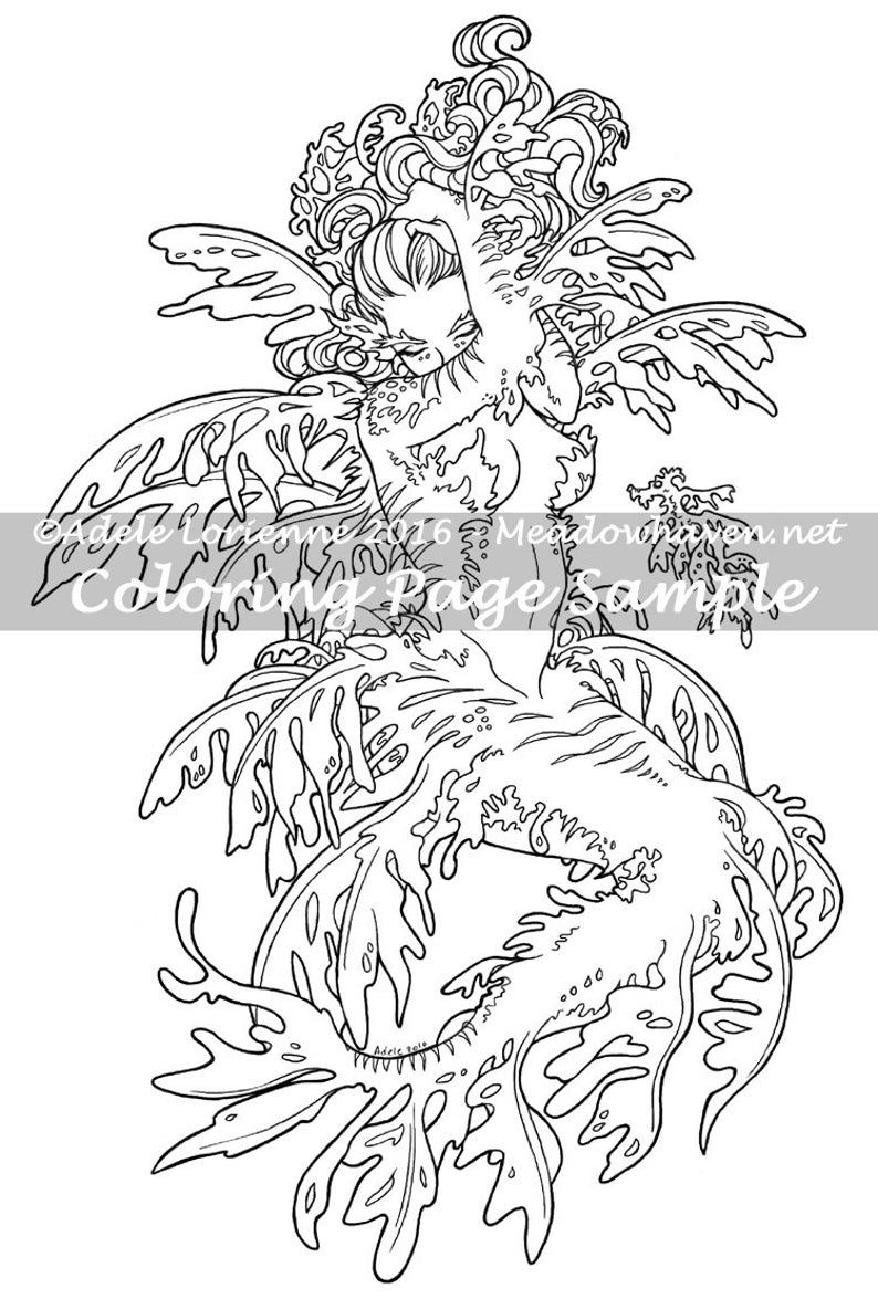 A Meadowhaven Fantasy Coloring Page Download Leafy Etsy