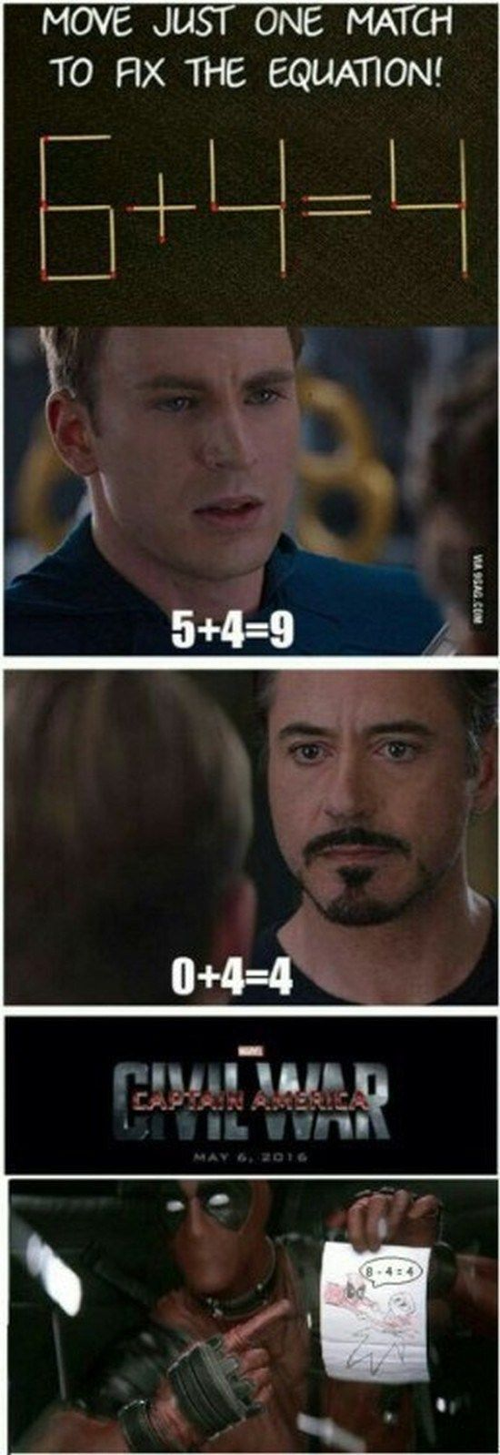 Civil War: Move Just One Match to Fix the Equation [Pic]
