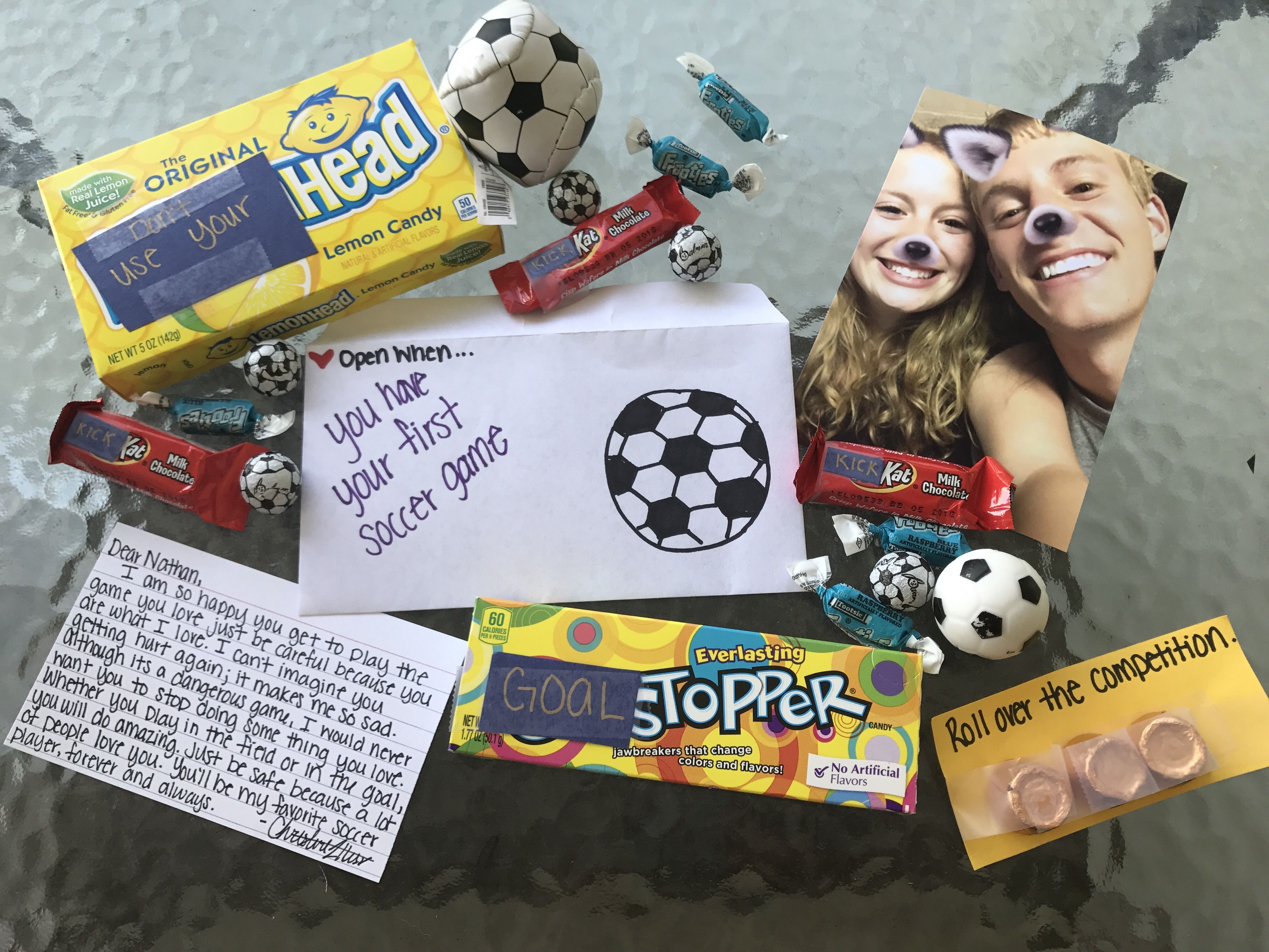 When You Have Your First Soccer Game Cute Boyfriend Gifts Bf Gifts Diy Gifts For Boyfriend