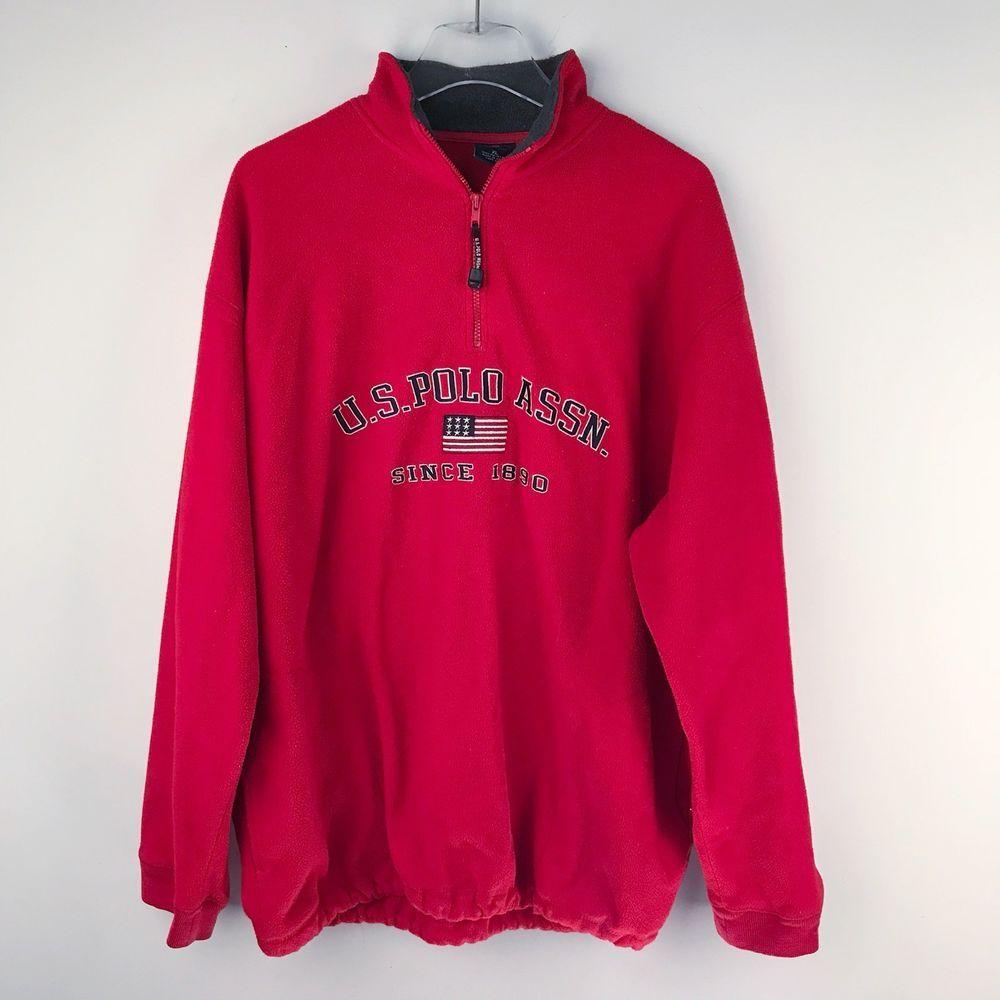Us Polo Association Mens Shirt Fleece Pullover Vintage 90s Flag