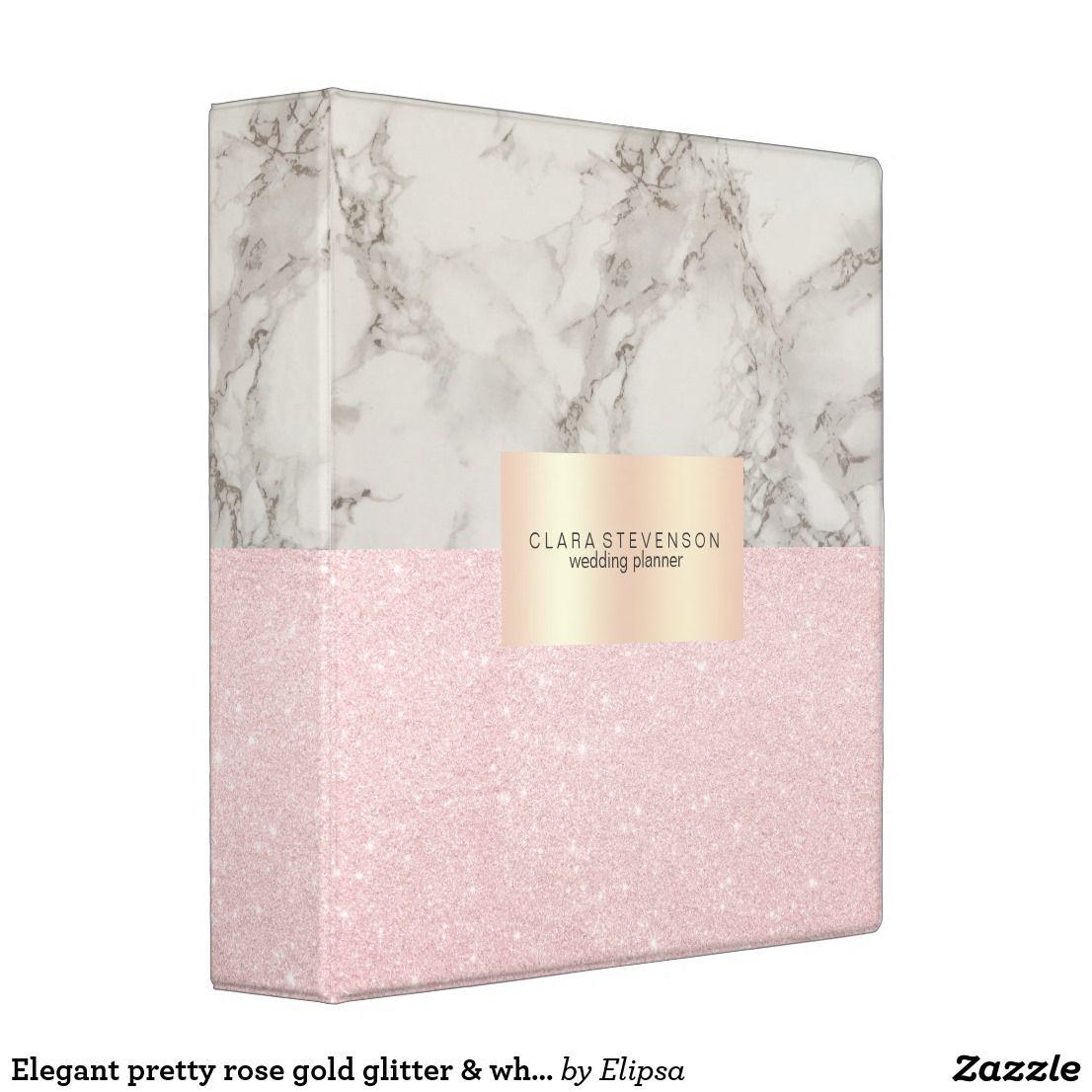 Elegant Pretty Rose Gold Glitter & White Marble 3 Ring
