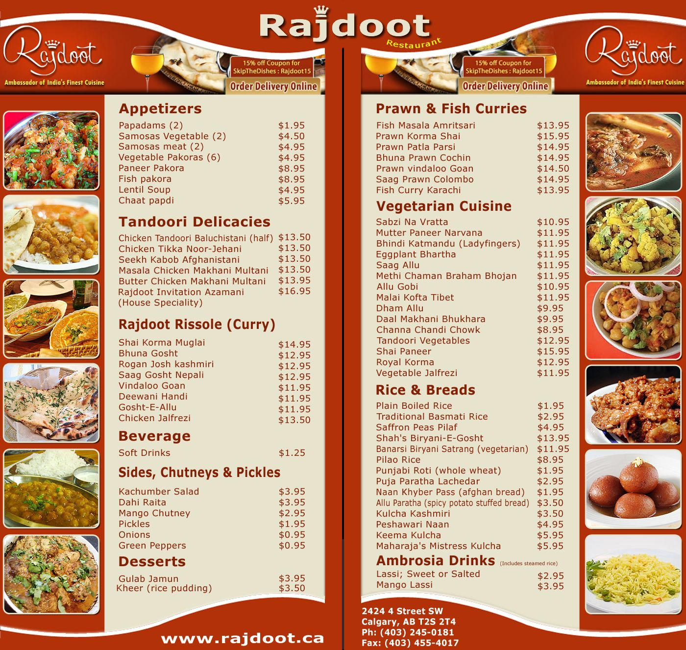 Have A Look On Indian Restaurant Rajdoot Menu Traditional Indian Food Curry Dishes Masala Curry