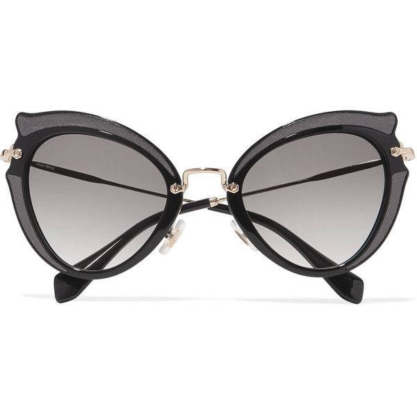 806f6f5d1aee Miu Miu Embellished cat-eye acetate and gold-tone sunglasses ( 450) ❤ liked  on Polyvore featuring accessories