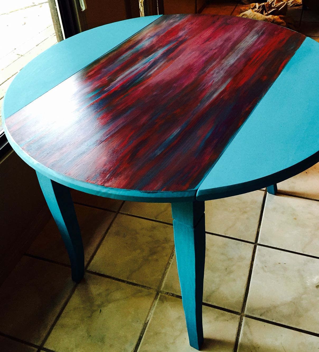 Sante Fe Mojo My Turquoise Chalk Painted Drop Leaf Table Featuring The Fabulous Unicorn Spit Gel Stain I Used Diy Chalky Paint On Base And A Blend Of