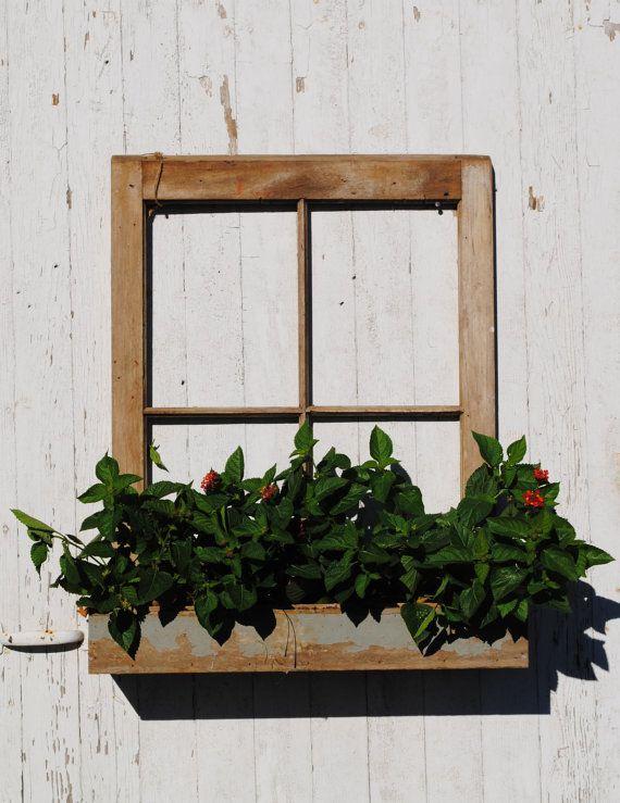 Window Box Planter Reclaimed Barn Window Frame Window Planters Rustic Home Decor Shelving 50 00 Window Planters Barn Window Decor Window Planter Boxes