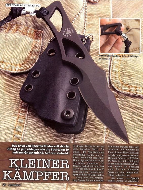 Spartan Blades Enyo Fixed Knife Blade Fighting Neck Knife Kydex