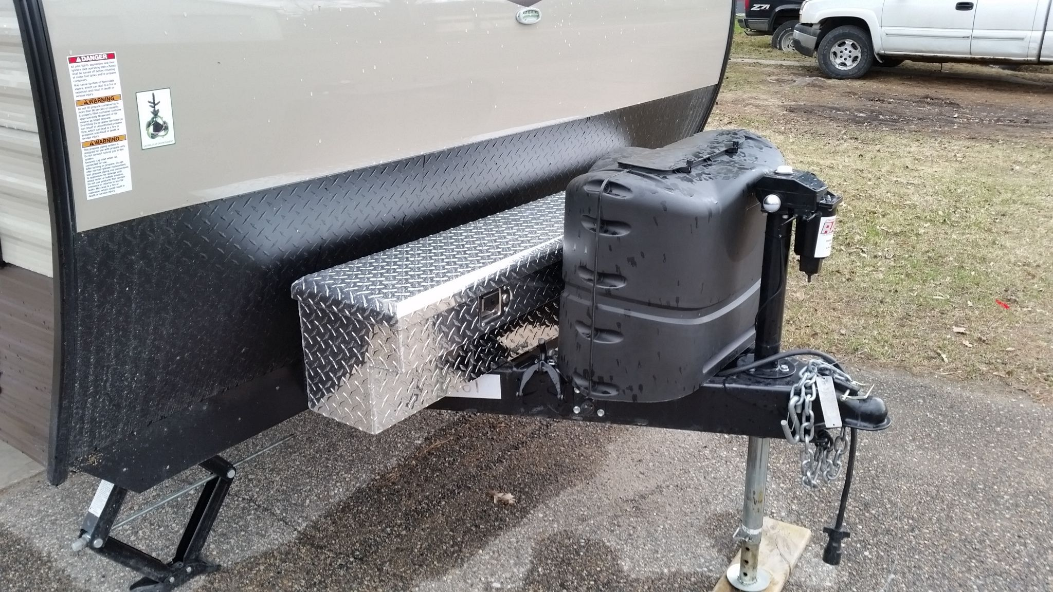 I Created A Battery Box For Multiple Batteries I Used A Storage Box Made To Fit On The Side Rail Of A Pick Travel Trailer Storage Trailer Storage Rv Skirting