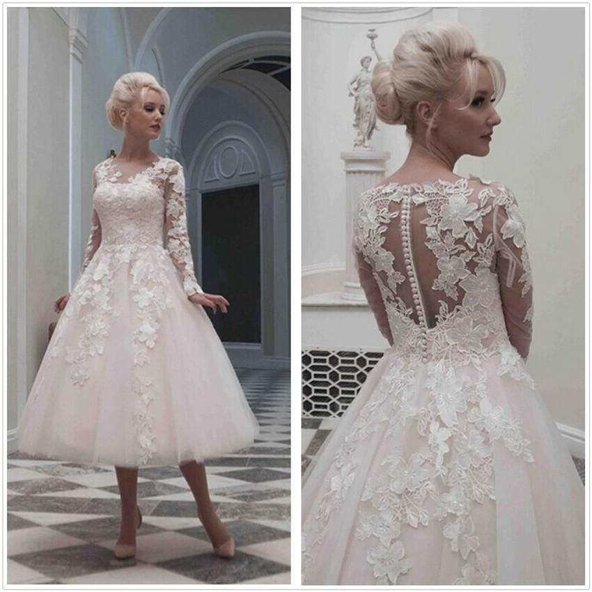 1950 S Custom Made Vintage Wedding Dresses Short A Line Long Sleeve Tea Length Lace Tulle Appliques Garden Bridal Party Gowns Cheap Wedding Dress Organza Wedding Dress Backs