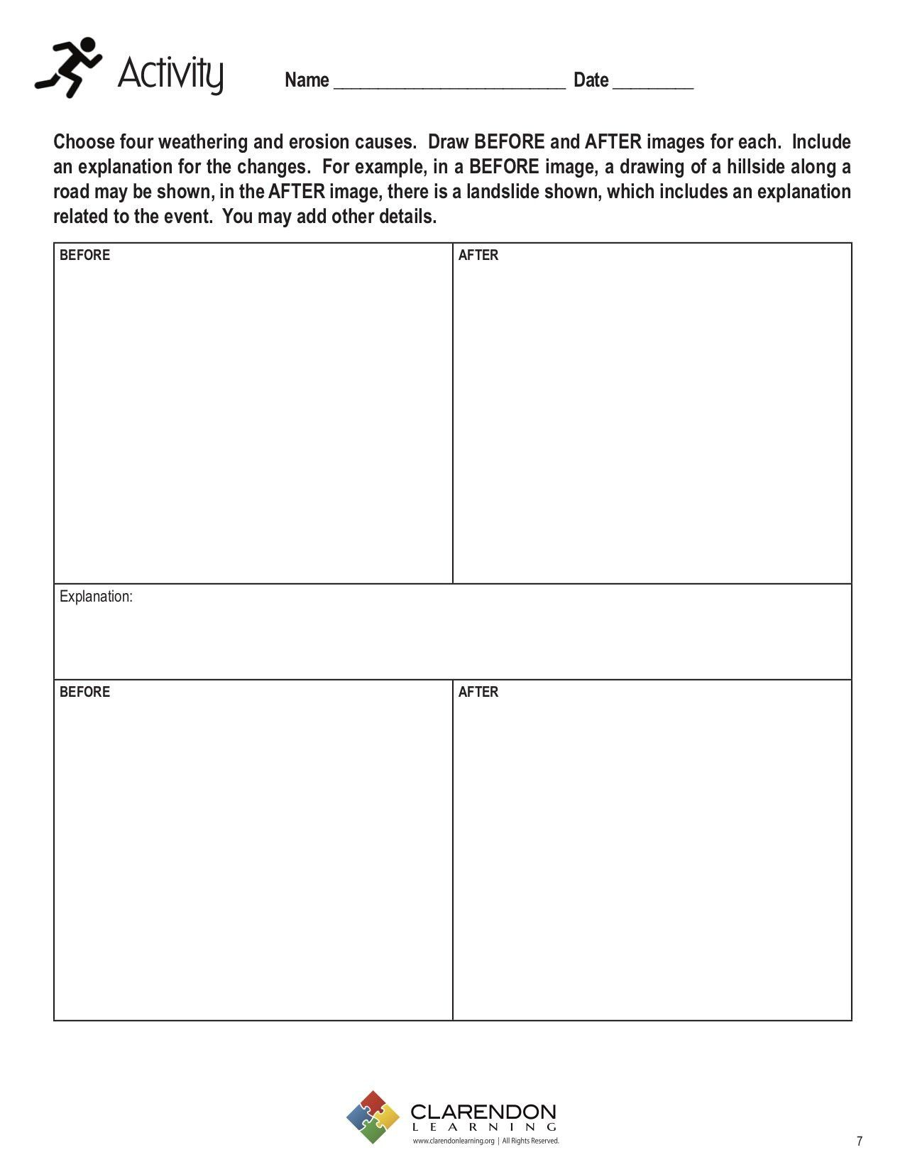 Weathering Erosion and Deposition Worksheet Weathering and