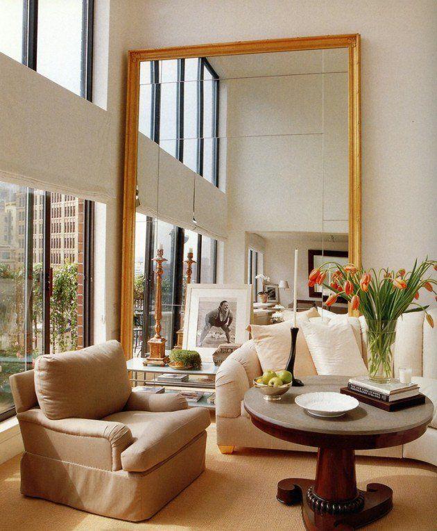 40 Magnificent Interior Designs With Big Big Mirrors Large Mirror Living Room Living Room Mirrors Mirror Wall Living Room