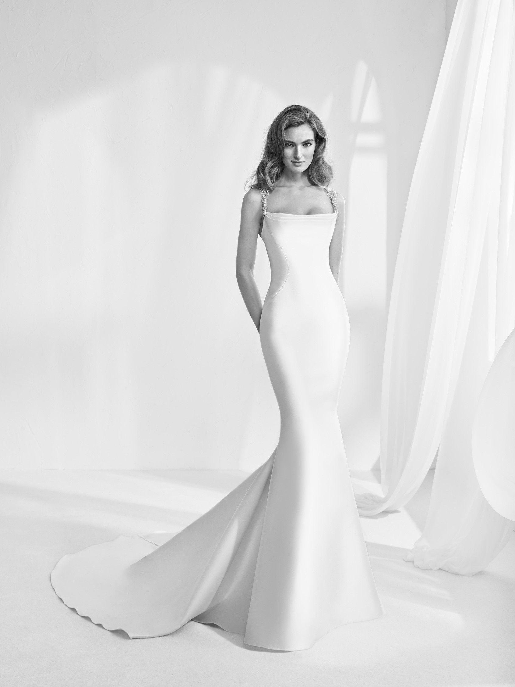 Cute Ransen Classic wedding dress with jewelled straps Pronovias Pronovias