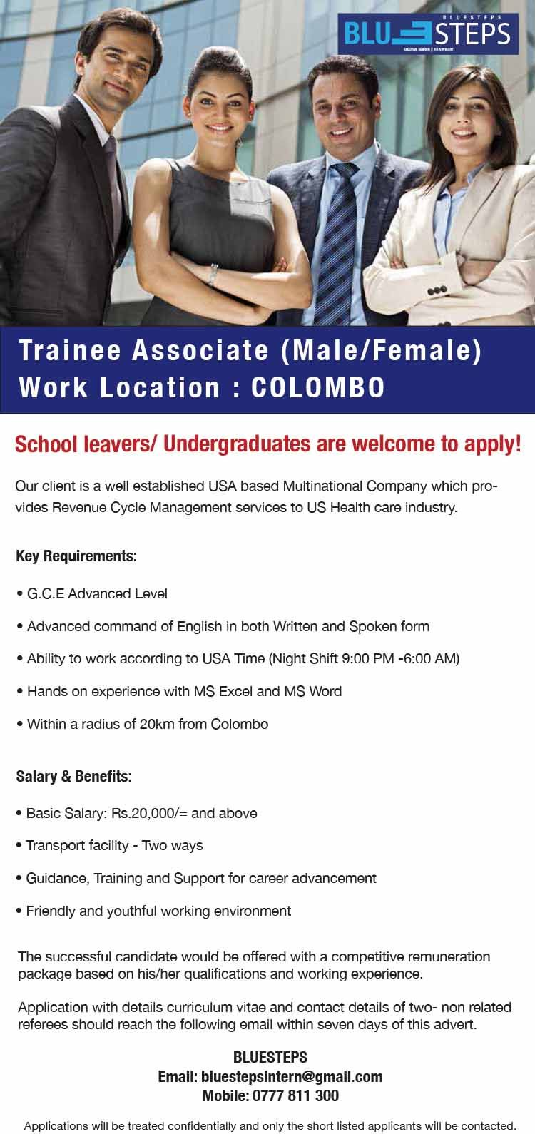 trainee associate male female at bluesteps careerfirst school