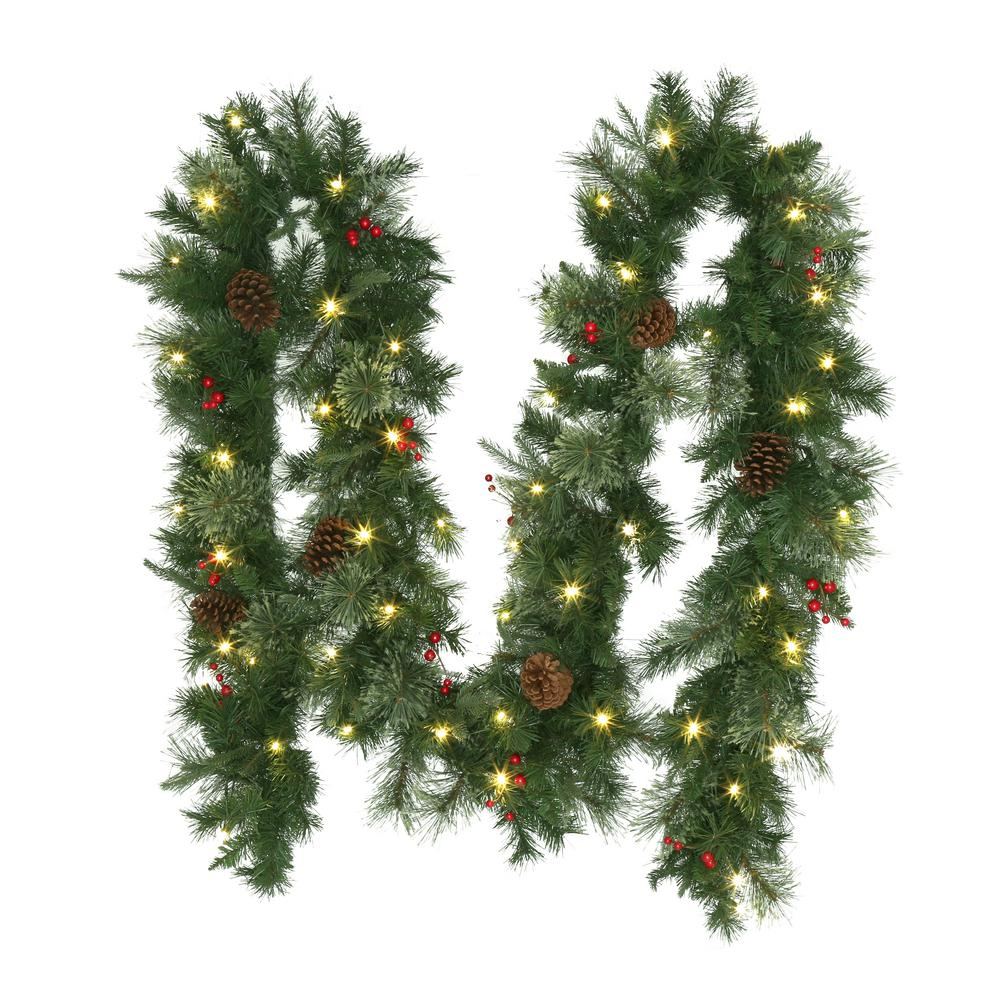 Home Accents Holiday 12 Ft Pre Lit Syracuse Artificial Christmas Garland With Warm Artificial Christmas Garland Christmas Garland Artificial Christmas Wreaths