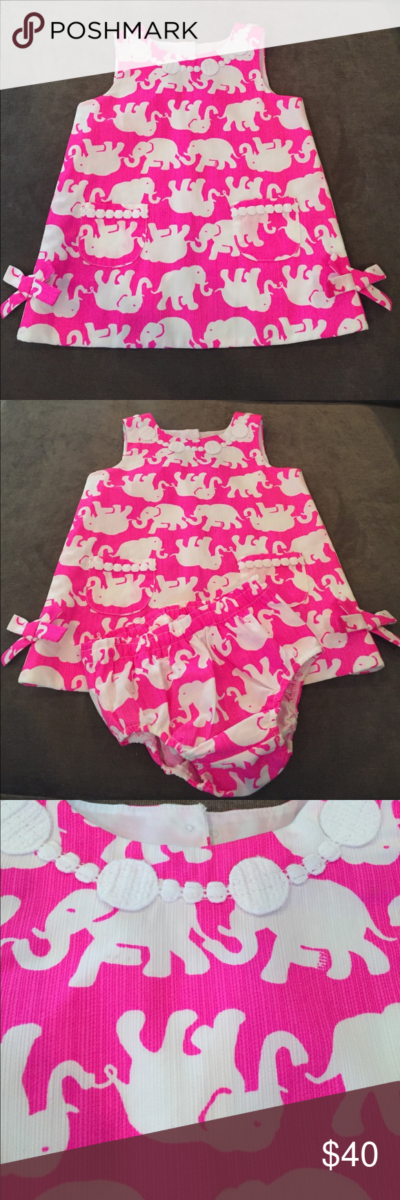 Lilly Pulitzer Baby Shift Diaper Cover Pink Elephant Diapers