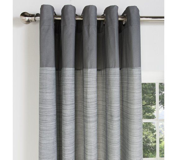 Buy Home Norfolk Unlined Eyelet Curtains 229x229cm Charcoal At