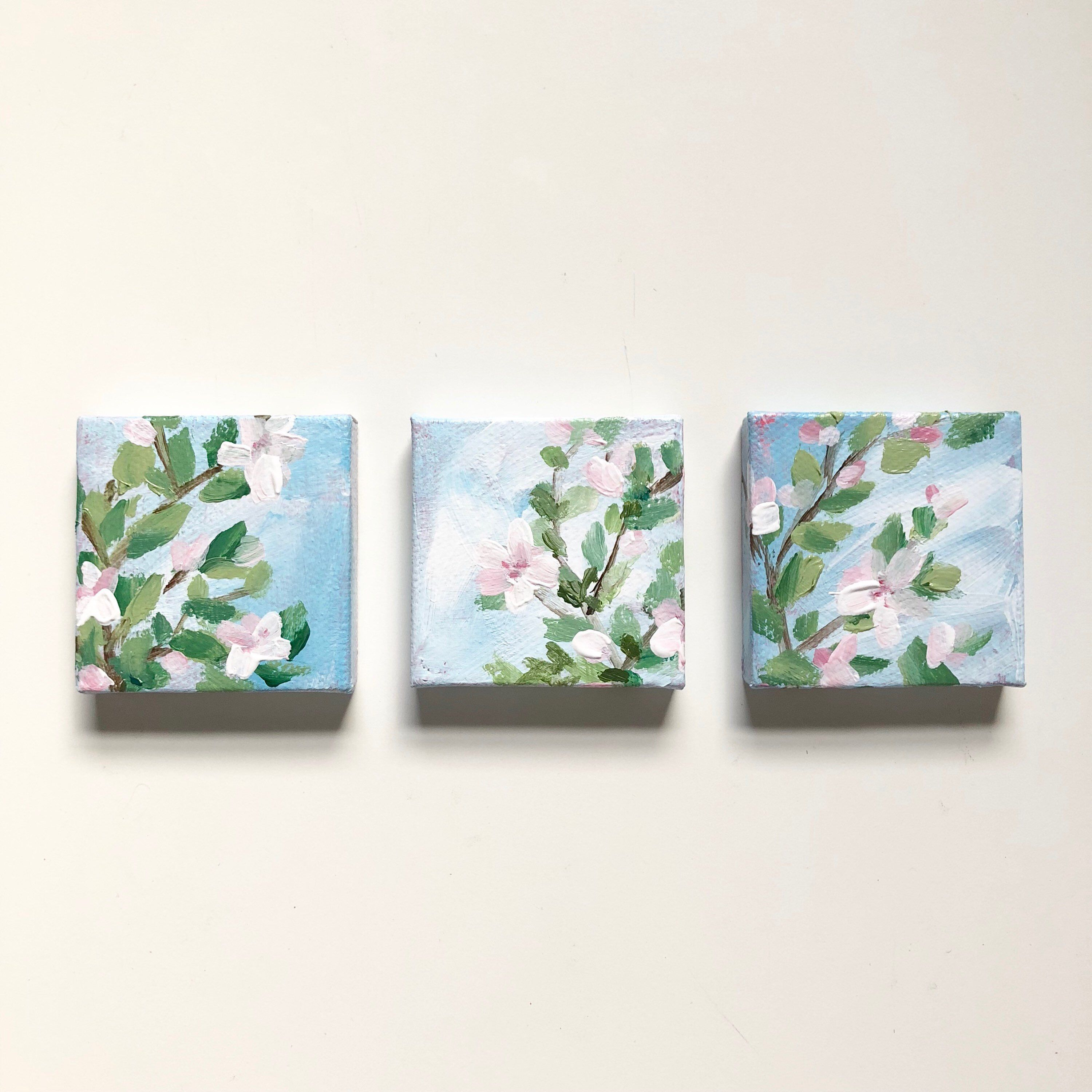 Tee Tiny Pink Spring Blossoms Acrylic Paintings Set Of 3 Etsy Small Canvas Paintings Mini Canvas Art Watercolor Paint Set