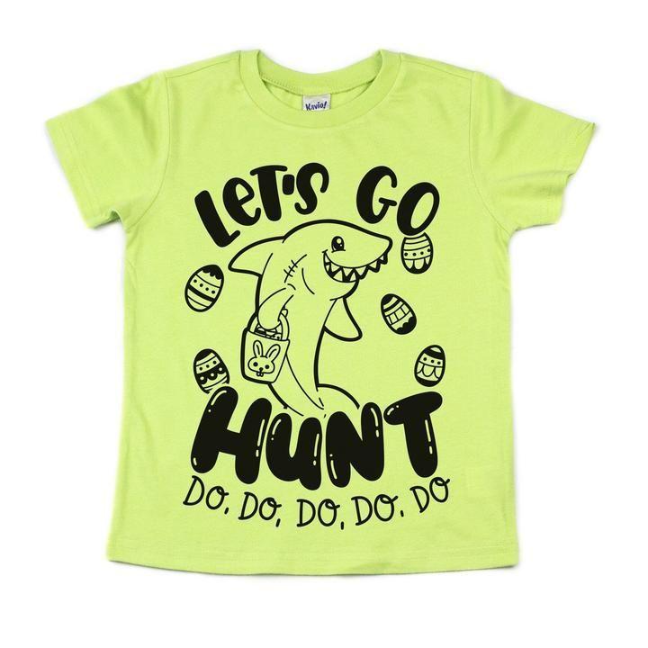 0b4879933c587 lime baby shark let's go hunt kids Easter tee shirt | Shopping Small ...